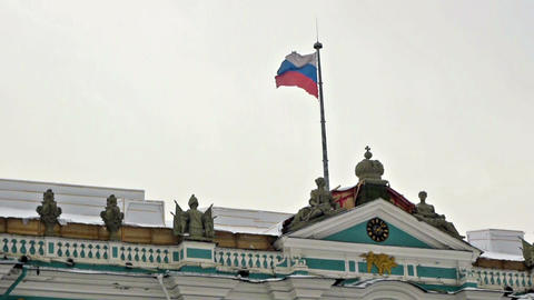 Russian flag on Hermitage museum, Dvortsovaya squa Footage