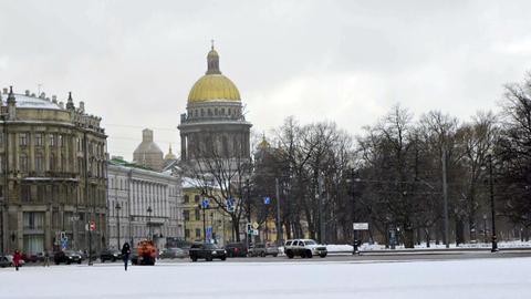 Tourists Walking On Dvortsovaya Square Not Far Fro stock footage
