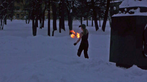 Fire show - tricks with burning poi Stock Video Footage