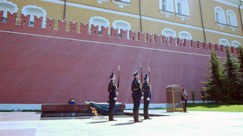 Tomb of unknown soldier in Moscow, Russia - Guard Stock Video Footage