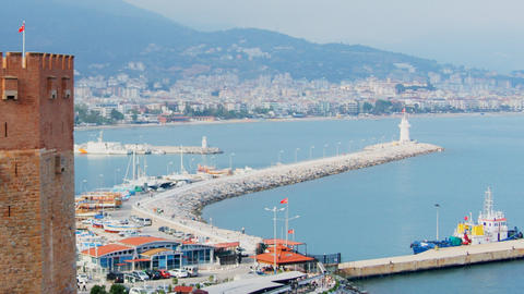 Kizil Kule - Red Tower, the symbol of Alanya, Turk Stock Video Footage