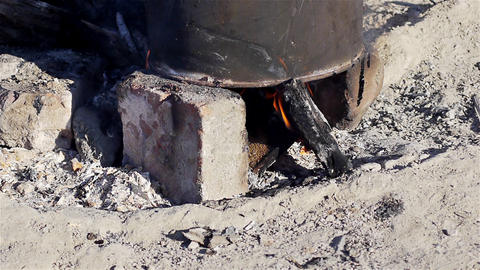 Pot on a campfire, closeup Stock Video Footage