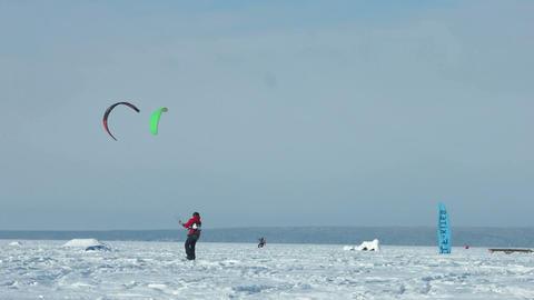 Snowkiting slow motion 100 fps video Stock Video Footage