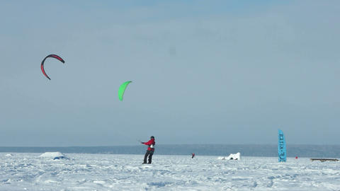 Snowkiting slow motion 100 fps video Footage
