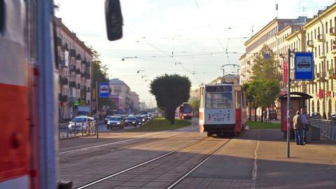 Tram on the street of Saint Petersburg, Russia Stock Video Footage