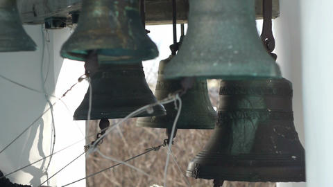 Bells on church bellfry Stock Video Footage