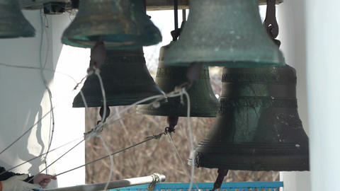 Bells on church bellfry Footage
