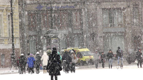 Heavy snow on the Nevsky Prospekt in St. Petersbur Stock Video Footage