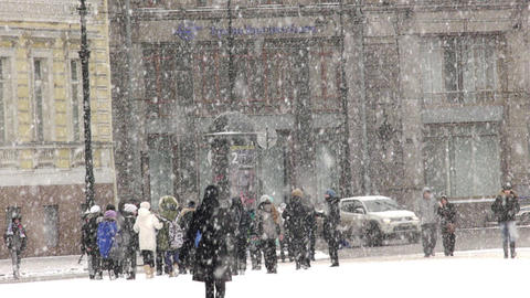 Heavy snow on the Nevsky Prospekt in St. Petersbur Footage