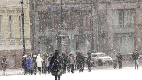Heavy snow on the Nevsky Prospekt in St. Petersbur Footage