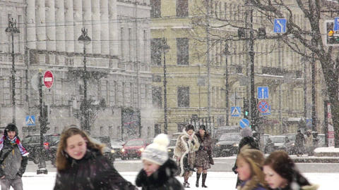 Heavy snow on the Nevsky Prospekt in St. Petersbur Stock Video Footage
