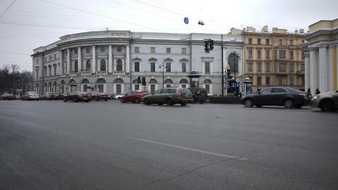 St. Petersburg, Russia, Nevsky Prospect traffic Stock Video Footage