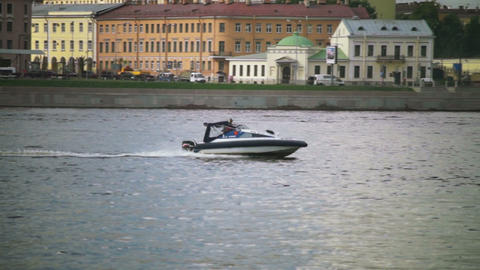 Boat floats on Neva river in Saint Petersburg, Rus Stock Video Footage