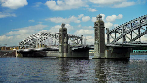Bolsheokhtinsky bridge on Neva river in Saint Pete Footage