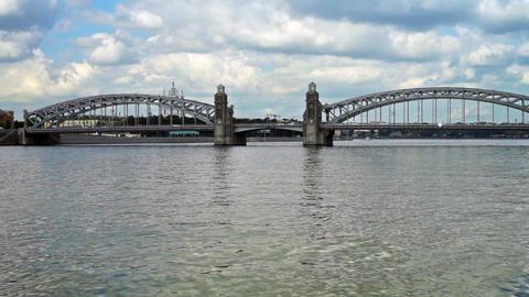 Bolsheokhtinsky bridge on Neva river in Saint Pete Footage