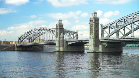 Bolsheohtinsky bridge on Neva river in Saint Peter Footage