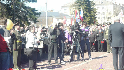 PETROZAVODSK, RUSSIA -MAY 09: Crowd of people cele Footage