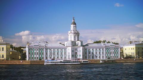 Kunstkamera museum and University embankment in Sa Stock Video Footage