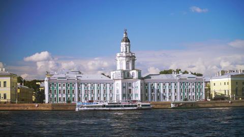 Kunstkamera museum and University embankment in Sa Footage