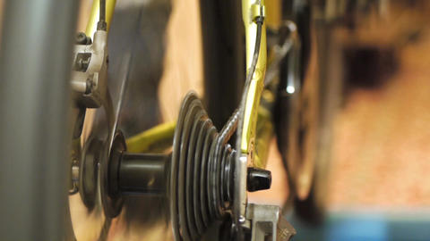 Man training on sport machine in fitness club Stock Video Footage