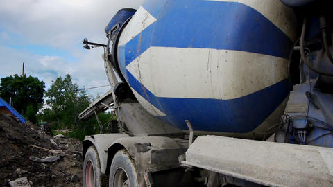 Concrete mixer working on construction site Stock Video Footage