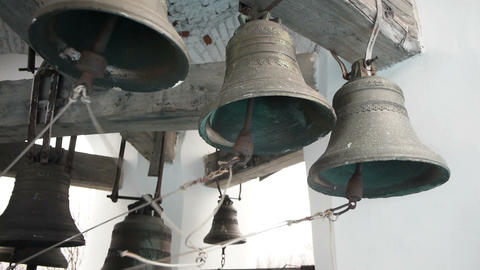 Bells striking by bell ringer in monastery Stock Video Footage