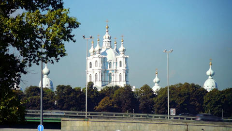 Summer view on Smolny Cathedral, Saint Petersburg, Stock Video Footage