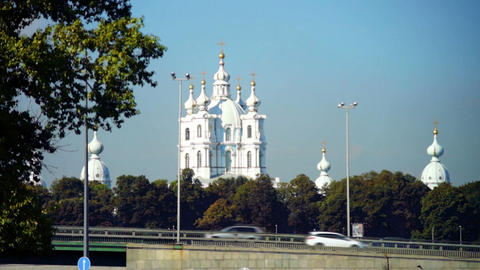 Summer view on Smolny Cathedral, Saint Petersburg, Footage