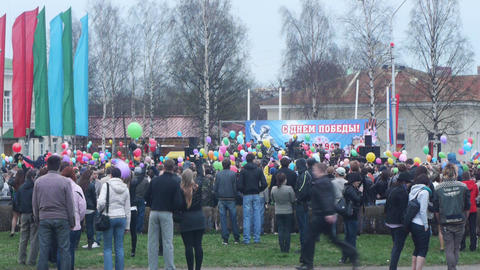 PETROZAVODSK, RUSSIA -MAY 09: Victory Day celebrat Stock Video Footage