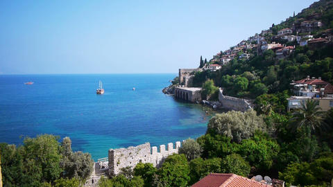 Scenic view on ship in Black sea, Alanya Stock Video Footage