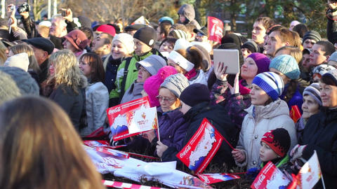 Crowd of spectators at Sochi2014 Olympic torch rel Stock Video Footage