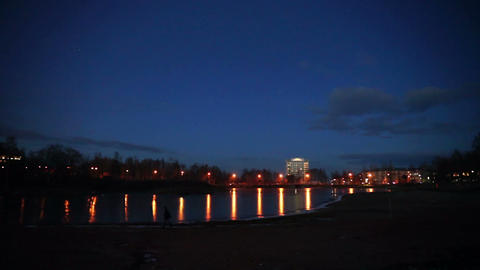 Evening lights of Petrozavodsk in autumn, Russia Stock Video Footage