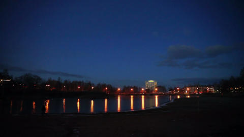 Evening lights of Petrozavodsk in autumn, Russia Footage