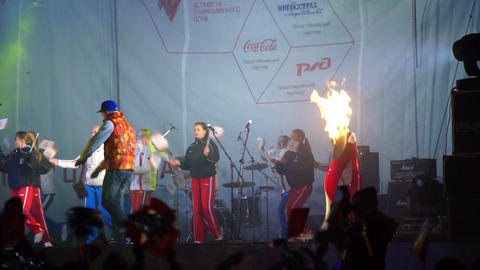 Kids performance during official song of Sochi2014 Stock Video Footage
