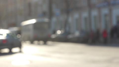 City street traffic defocused view slow motion 60 Stock Video Footage