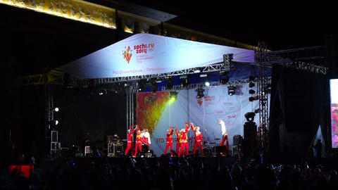 Alina Artts with dancing group on stage during the Footage