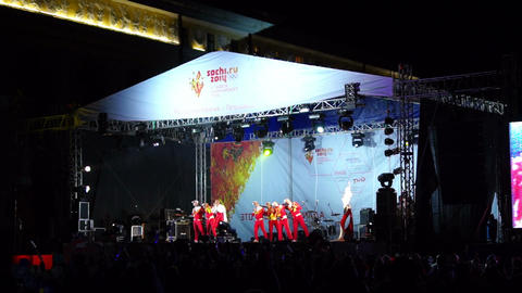 Alina Artts with dancing group on stage during the Stock Video Footage