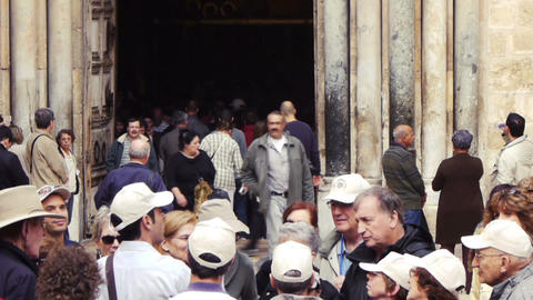 View on The Church of the Holy Sepulchre facade an Stock Video Footage