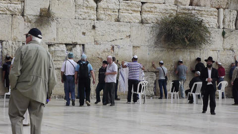 Many tourists and true believers near Western Wall Footage
