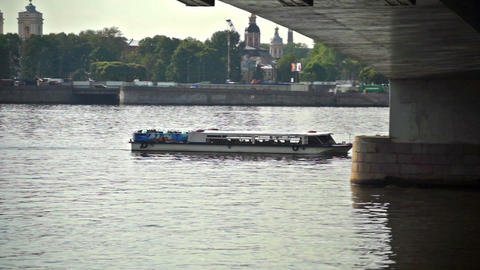 Tourists having an excursion boat trip on Neva riv Stock Video Footage