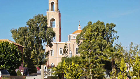 Pink building of Saint Peter's orthodox church in Stock Video Footage