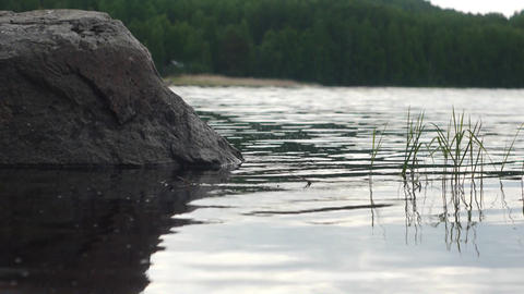 Panorama of Ladoga lake in northern Russia, low an Footage
