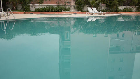 Water zone of hotel territory with pool close-up Stock Video Footage