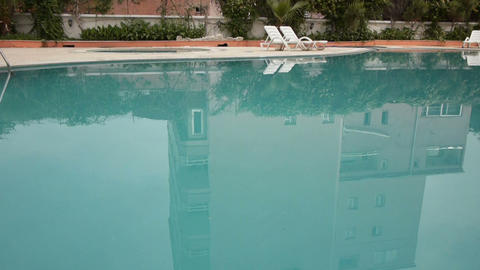 Water Zone Of Hotel Territory With Pool Close-up stock footage