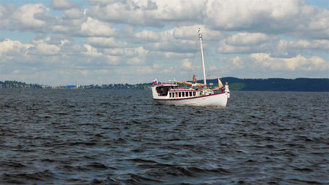 PETROZAVODSK, RUSSIA -July, 25: Sailsboat sails on Stock Video Footage