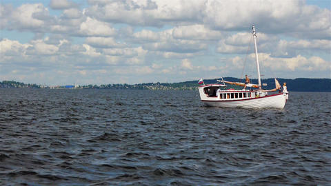 PETROZAVODSK, RUSSIA -July, 25: Sailsboat sails on Footage