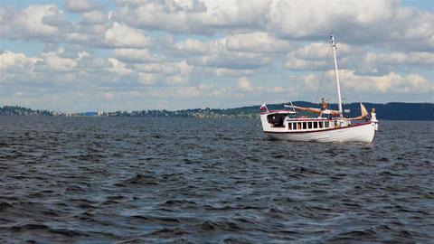 PETROZAVODSK, RUSSIA -July, 25: Sailsboat sails on Footage