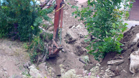 Excavator Earth Mover Working, Close-up View stock footage