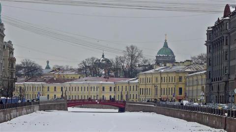 Moyka river embankment and Red Bridge, Saint Peter Footage