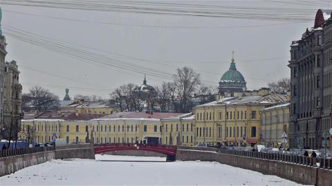 Moyka river embankment and Red Bridge, Saint Peter Stock Video Footage